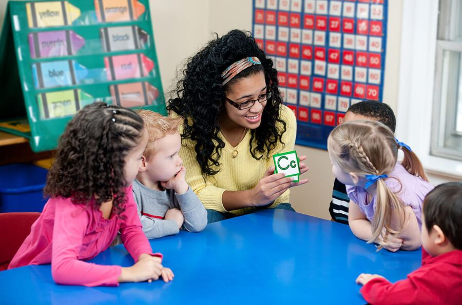 Preschool kids and teacher working with flash cards.